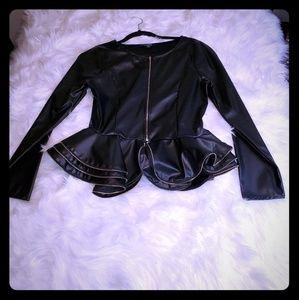 Faux leather zippered peplum jacket